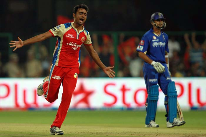 Rahane looked decent with a couple of boundaries off RP Singh and a punching six over mid-off off Rampaul but was done in by a clever change of pace from young Jaydev Unadkat to give RCB their second breakthrough. Rahane got 14 off 13 balls. (BCCI Image)