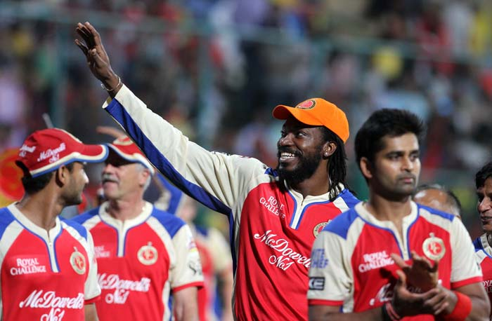The RCB players, after completing a 24-run win, gave a lap of honour to their home crowd that witnessed its last game this season. Now Bangalore's playoffs hopes lie with Sunrisers Hyderabad and Kolkata Knight Riders. (BCCI image)