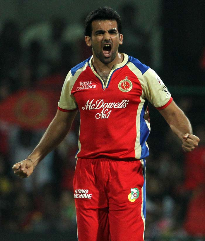 Zaheer Khan broke the back of the Chennai batting by taking two wickets in two balls, first getting Michael Hussey caught behind, then getting Suresh Raina caught in the deep. (BCCI image)