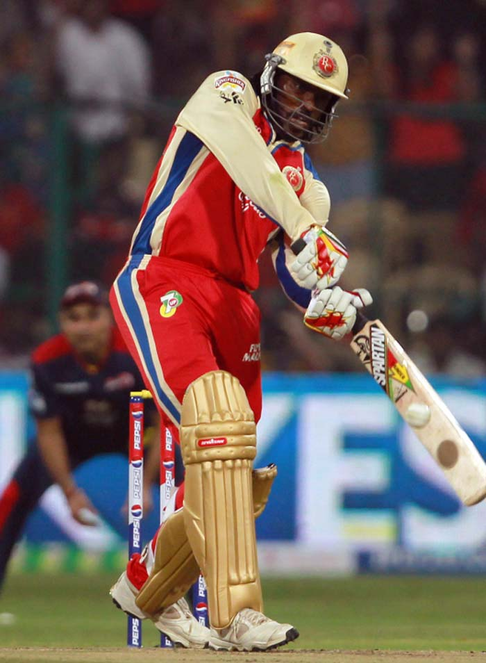 Chris Gayle delighted his home fans with two sixes in his 13-run knock but Gaylestorm was calmed by Morne Morkel. (BCCI image)