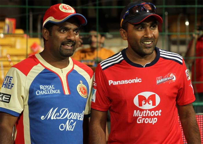 This was the battle between two of Sri Lankan cricket's longest serving superstars - Muttiah Muralitharan and Mahela Jayawardene. Where Mahela captained the Delhi team, Muralitharan did not feature in the RCB line up. (BCCI image)