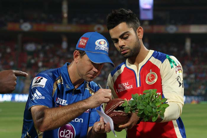 Mumbai's new skipper – Ricky Ponting - won the toss and chose to field against Kohli's Bangalore.(BCCI Image)