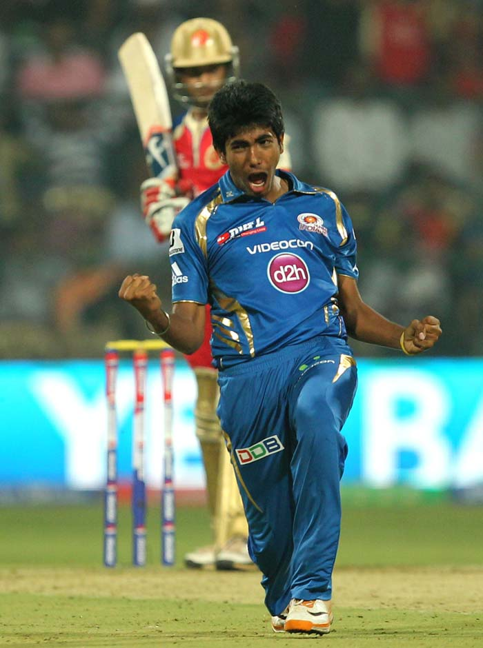 Jasprit Bumrah who was the surprise of the evening is seen celebrating the wicket of RCB's skipper Virat Kohli.(BCCI Image)