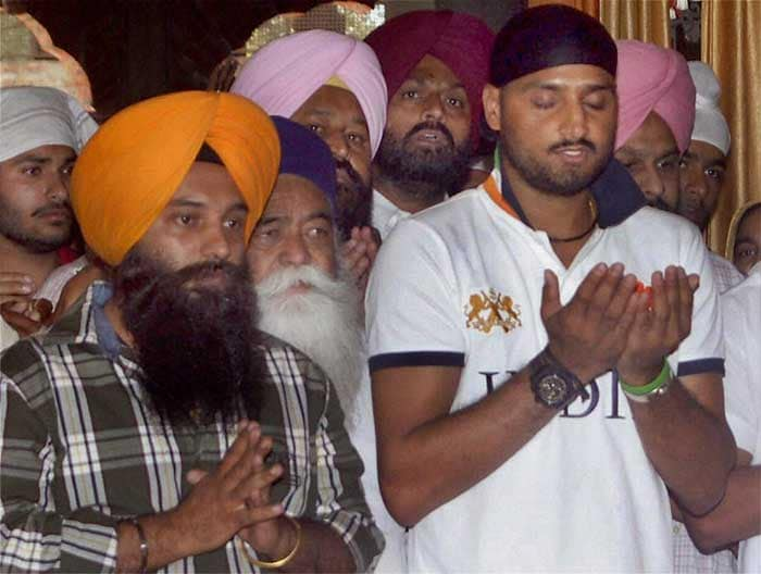 Harbhajan Singh offered prayers at a Gurudwara in Mohali after the World Cup win. (PTI Photo)