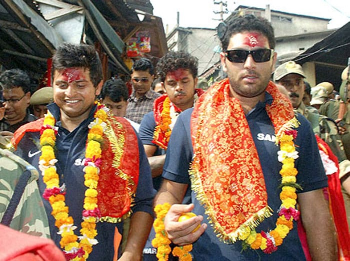 Before the ODI series against New Zealand in November last year, Yuvraj Singh and Suresh Raina visited the famous Kamakhya temple atop the Neelachal hills in Guwahati and performed puja in traditional manner. Sreesanth was also with them.