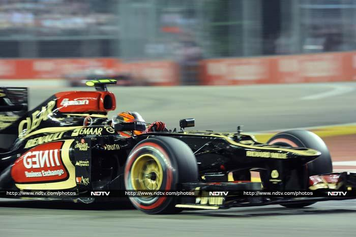 Romain Grosjean ensured Lotus had a good day as he came in third position.
