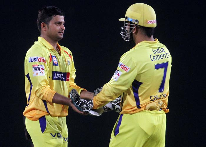Suresh Raina got Parthiv run-out and took the wicket of Duminy as Chennai responded to Hyderabad's assault.