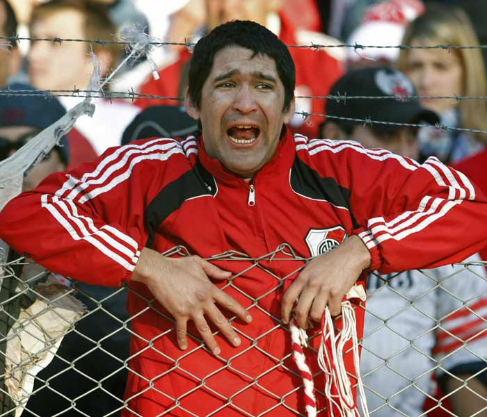 Leading club River Plate was relegated to the Argentine second division for the first time in its 110-year history on Sunday, sparking ugly riots between police and fans with dozens injured inside and outside Monumental stadium.