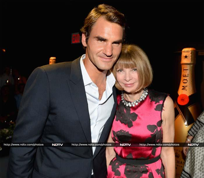 He is seen here with Vogue Editor-in-Chief Anna Wintour during a social calling for a company the tennis star represents.