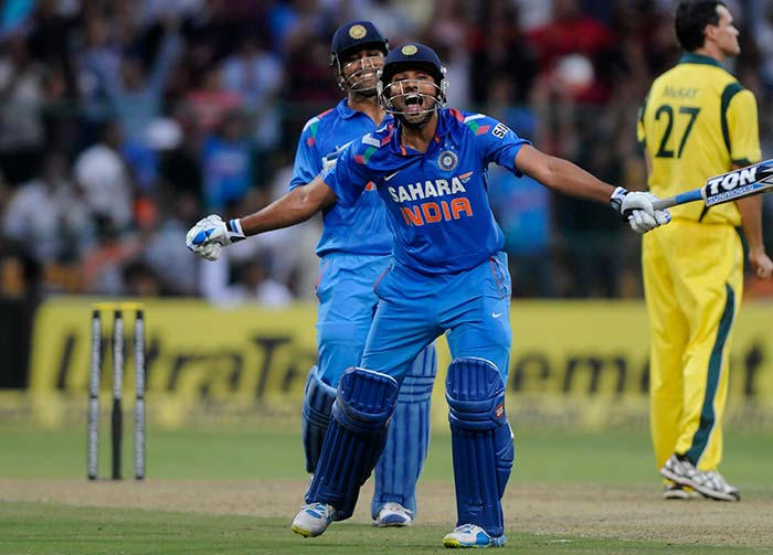 As he reached his double century, Rohit had skipper MS Dhoni for company. Ironically, Dhoni was the non-striker when Sachin Tendulkar hit his double century against South Africa in 2010 as well. (BCCI image)