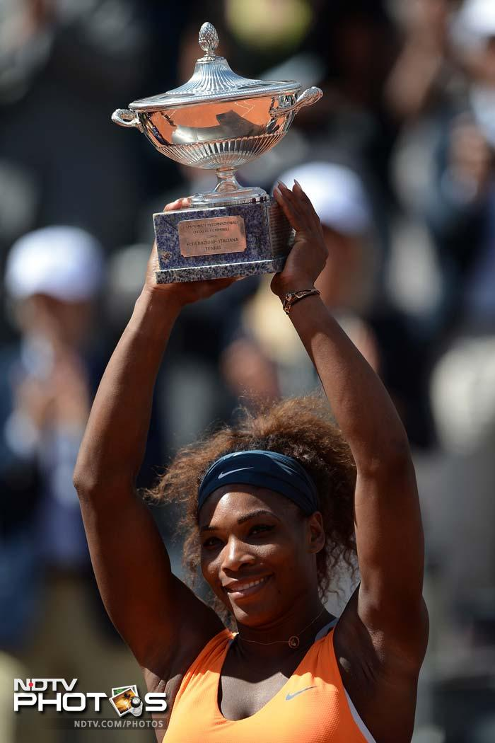 In the womens section, world number one Serena Williams swept Belarusian Victoria Azarenka aside 6-1, 6-3 to win the Rome Open title.