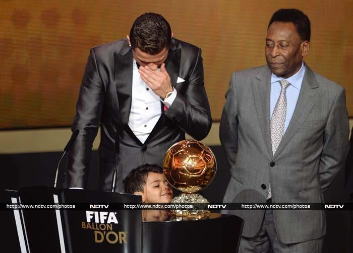 """""""There are no words to describe this moment,"""" said Ronaldo, who was sobbing in tears after accepting the trophy."""