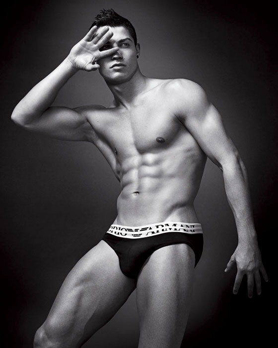 This image released by Giorgio Armani press office in Milan, Thursday Jan 14, 2010 shows soccer star Cristiano Ronaldo posing to promote the new Spring-Summer Emporio Armani underwear and Armani Jeans campaigns. The advertising campaign for Armani featuring Cristiano Ronaldo will cover fashion and lifestyle magazines and billboards in major cities around the world. (AP Photo)