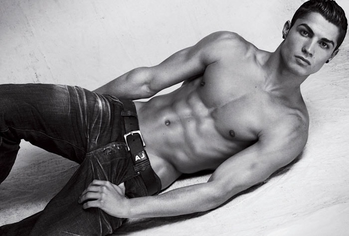 Cristiano Ronaldo shows off his ripped abs as he poses for Armani Jeans. The 2003 signing of EPL giants Manchester United does 3000 sit-ups a day to maintain his jaw-dropping torso. (AP Photo)