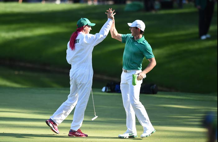 McIlroy and Wozniacki were also high-fiving every successful shot that came off the former's golf club.