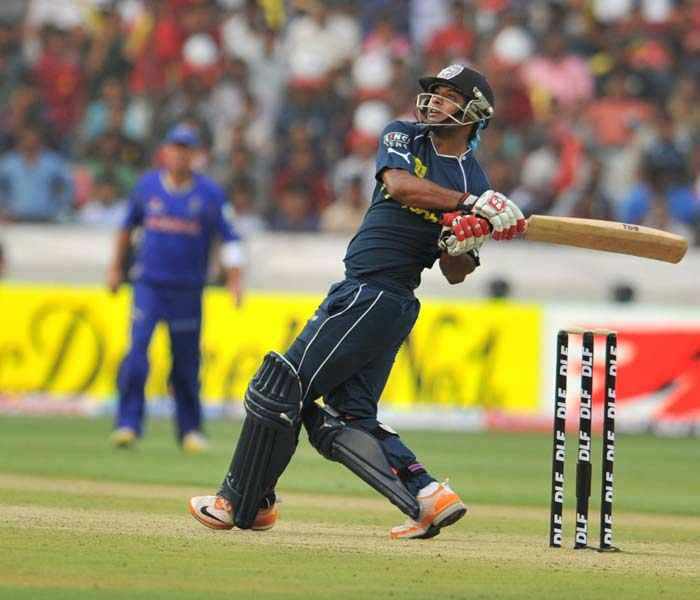 Ravindra Teja (in pic) and Damien Christian did hit a few shots to the boundary which was appreciated by the home fans at the stadium. (AFP Photo)