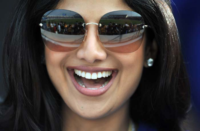 Team owner of Rajasthan Royals, Shilpa Shetty, seemed visibly pleased with the performance of the side with the ball. (AFP Photo)