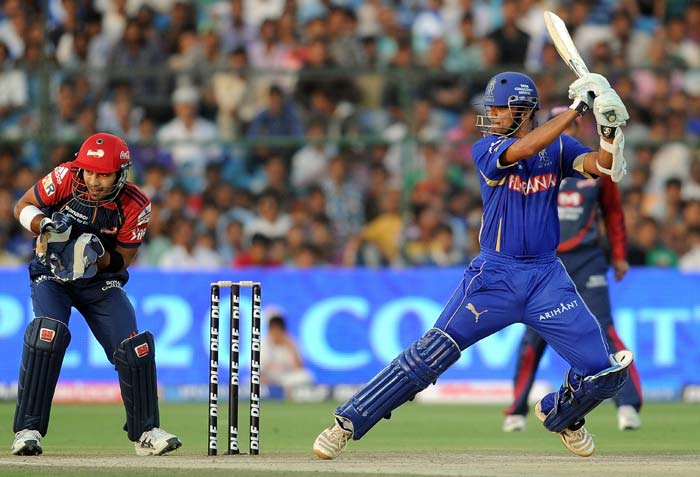Rahul Dravid though had no plans of letting the game slip away as he helped himself to a 31-ball 38 with the help of six boundaries and a single heave over the boundary. (AFP Photo)