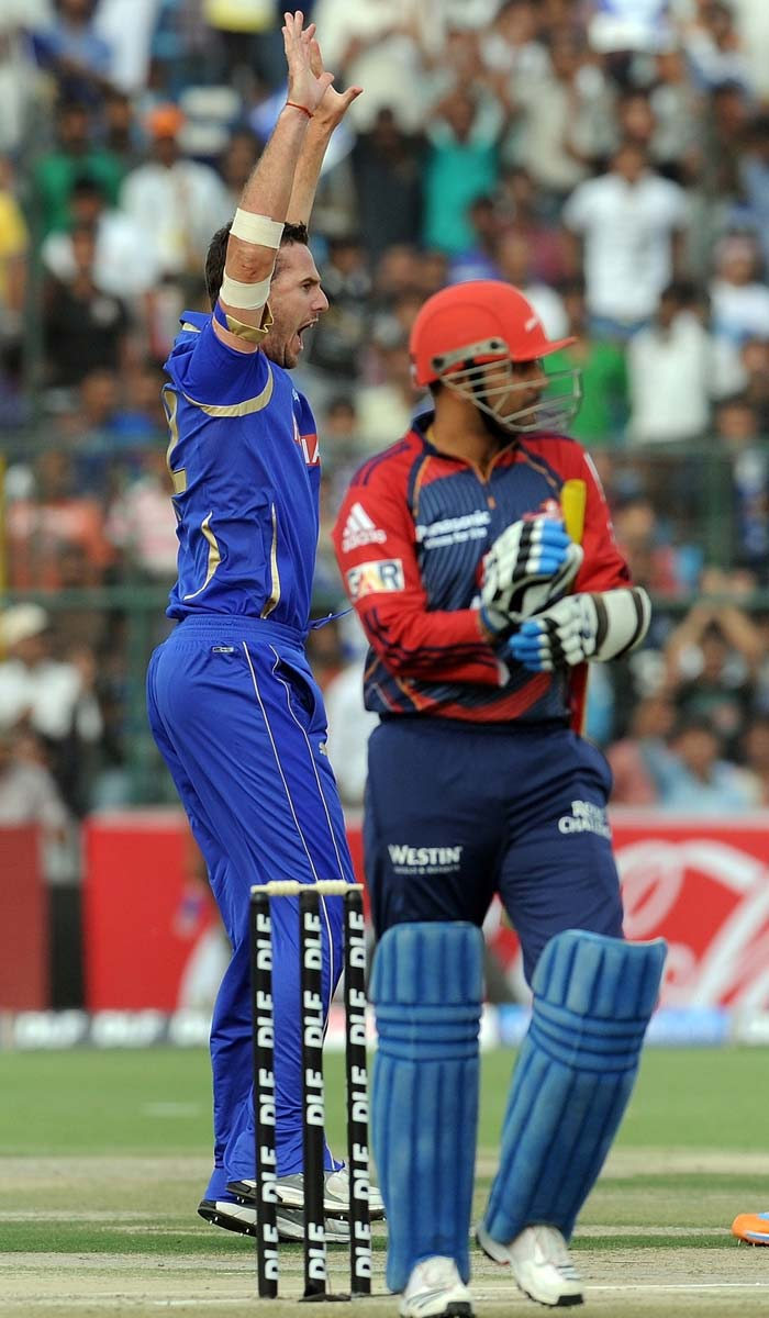 Virender Sehwag won the toss but Shaun Tait won the plot early on, testing the Daredevils' skipper with a short ball that nicked his bat and was safely latched behind the stumps. (AFP Photo)