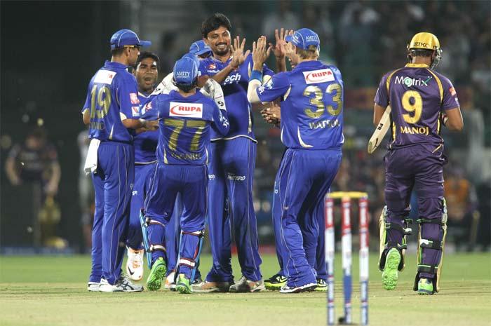 Siddharth Trivedi is seen celebrating the wicket of Manoj Tiwary as Kolkata's innings soon crumbled under pressure. (BCCI image)