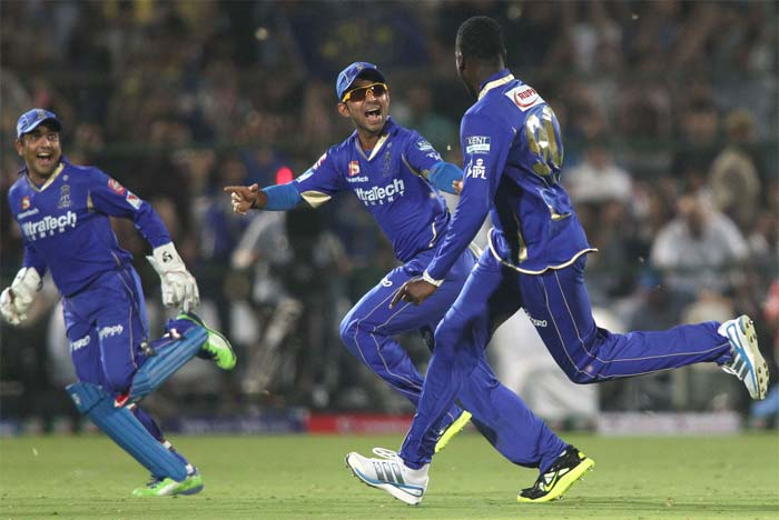Kevon Cooper (right) claimed the final wicket as Royals' fans erupted in jubilant celebrations. (BCCI image)