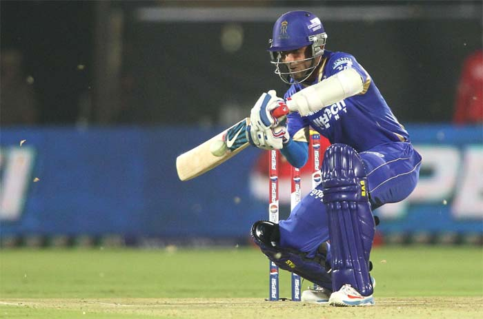 Ajinkya Rahane - the other opener with Watson - held his bat high and hit a patient 36 off 34 to provide a rickety foundation to the innings. (BCCI image)