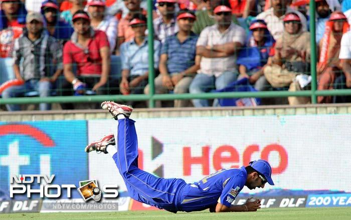 An all-round effort from Rajasthan Royals against Delhi Daredevils in Delhi took the visitors to the final over only to lose the match off the last ball. A look at the key highlights from the match. (AFP PHOTO/ Prakash SINGH)