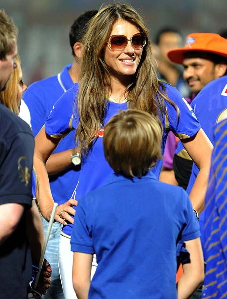 A beaming Liz Hurley could not be missed at the ground as the Royals stamped a convincing 8-wicket win with more than 5 overs to spare.