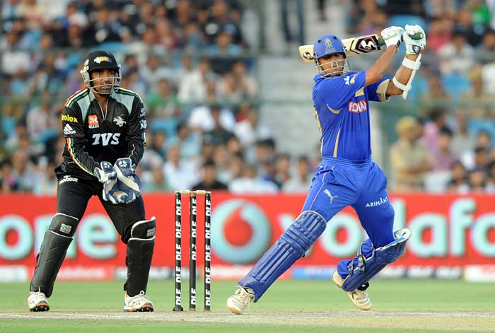 The other opener in Rahul Dravid looked solid too as he scored 18 off 20 balls with two boundaries but failed to negotiate a spinning delivery and lost his wicket.