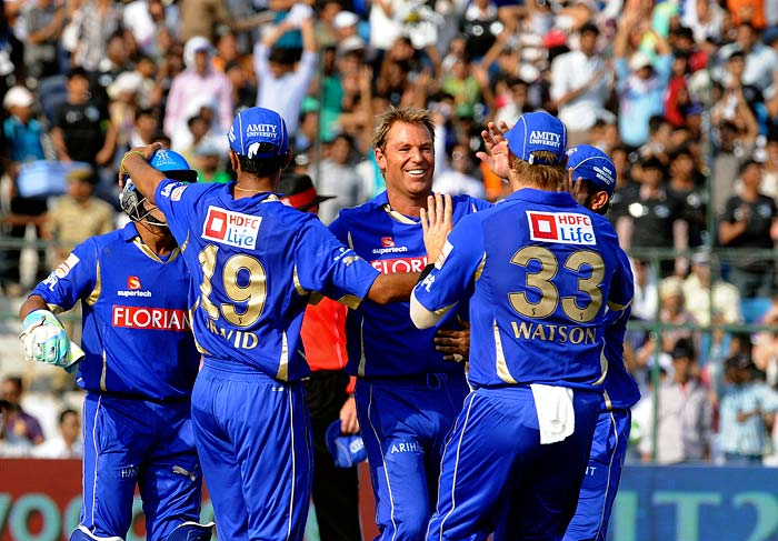 Though Siddharth Trivedi claimed three wickets from the innings, it was Shane Warne's spin that troubled the batsmen on a track that assisted a little turn.