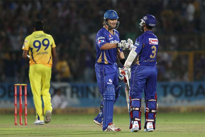 Rahane and Shane Watson (32) were involved in a 59-run stand. Watson was dismissed by Chris Morris.