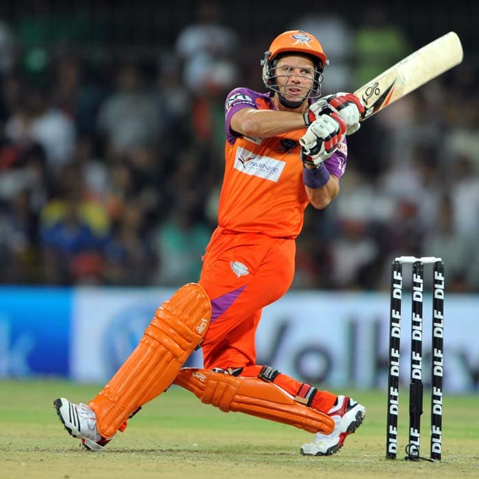 Kochi Tuskers Kerala batsman Brad Hodge plays a shot during the IPL Twenty20 match against Rajasthan Royals at the Holkar Stadium in Indore. Hodge starred with the bat and ball to lift Kochi to an 8-wicket win.(AFP PHOTO)