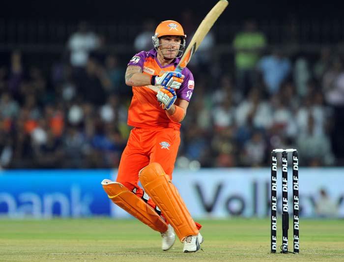 Kochi Tuskers Kerala batsman Brendon McCullum plays a shot during the IPL Twenty20 match against Rajasthan Royals at the Holkar Stadium in Indore. (AFP PHOTO)