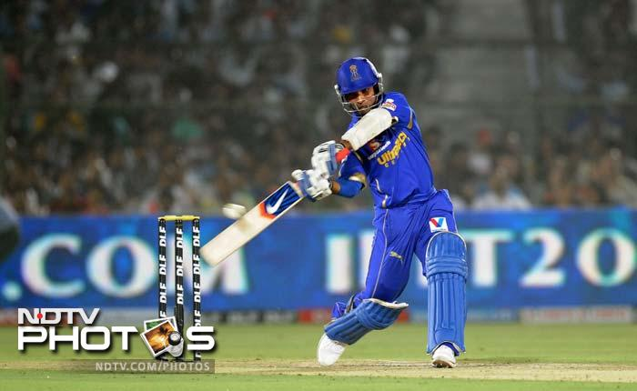 Rajasthan Royals batsman Ajinkya Rahane plays a shot during the IPL Twenty20 cricket match between Rajasthan Royals and King XI Punjab at the Sawai Mansingh Stadium in Jaipur. (AFP PHOTO/RAVEENDRAN)