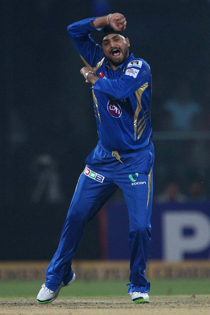 Harbhajan Singh bowled fabulously to pick four wickets. He took three in one over to finish with 4/34.