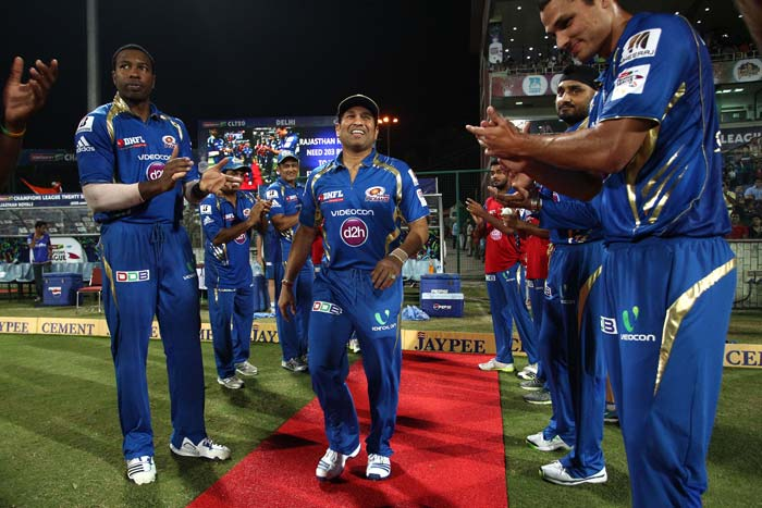 Sachin Tendulkar received the Guard of Honour by his Mumbai Indians teammates as he walked out to field for one last time in T20 cricket.