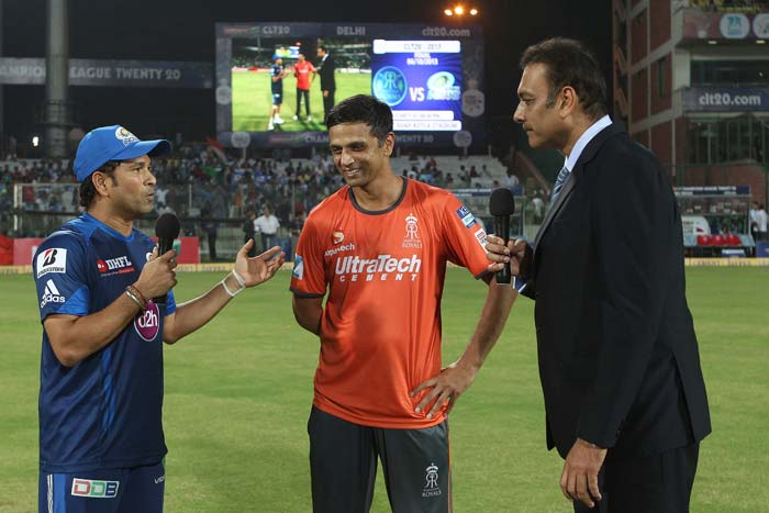 Rahul Dravid and Sachin Tendulkar took the field for one last time against each other in coloured clothing. (BCCI images)