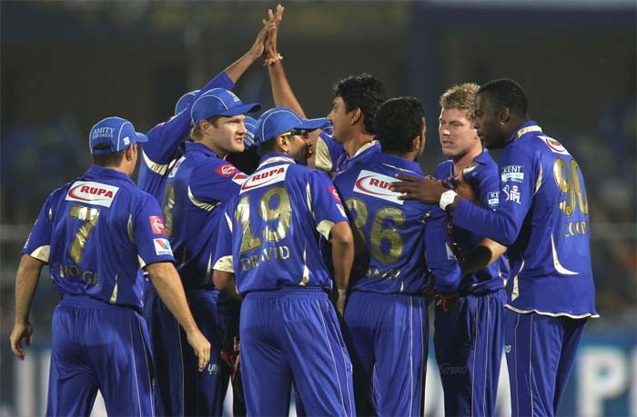 Rajasthan bowlers made the best of the home conditions. All of the their medium pacers Kevon Cooper, Siddharth Trivedi, Sreesanth and James Faulker took two wickets each on a lively deck at the Sawai Mansingh Stadium. (BCCI image)
