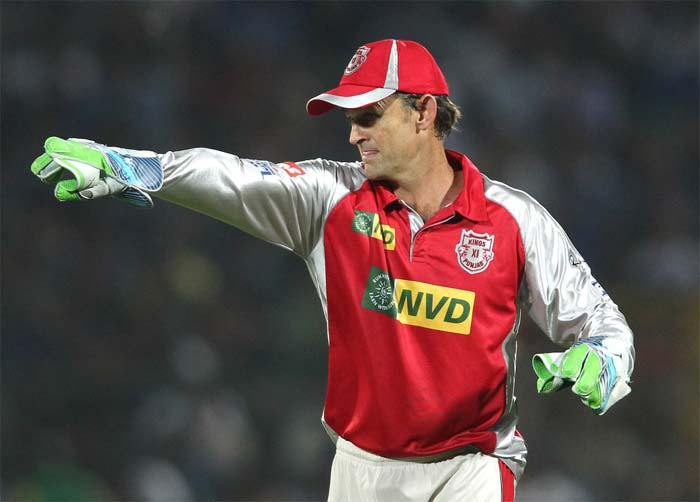 Brad Hodge was out for 15 and Punjab sniffed more blood. Skipper Gilchrist, who took two sharp catches earlier, got busy setting an attacking field for the cautious Rajasthan batters. (BCCI image)