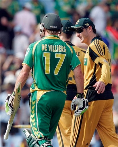 David Hussey congratulates AB de Villiers, after scoring a winning run on the second ODI match at the SuperSport Park in Pretoria on Sunday April 5, 2009. South Africa won by 7 wickets with 142 balls remaining. (AP Photo)