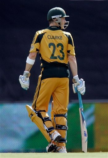 Michael Clarke looks back as he leaves the crease after his dismissal by Wayne Parnell, unseen, for 5 runs during the second ODI match at the SuperSport Park in Pretoria on Sunday, April 5, 2009. (AP Photo)