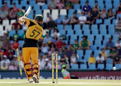 Brad Haddin is bowled by Dale Steyn, unseen, for 1 run during the second ODI match at the SuperSport Park in Pretoria on Sunday, April 5, 2009. (AP Photo)