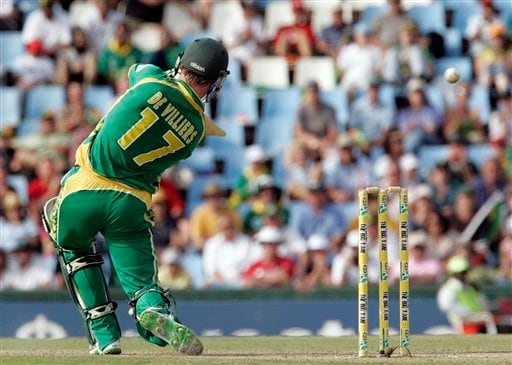 AB de Villiers scores the winning run during the second ODI match at the SuperSport Park in Pretoria on Sunday April 5, 2009. South Africa won by 7 wickets with 142 balls remaining. (AP Photo)