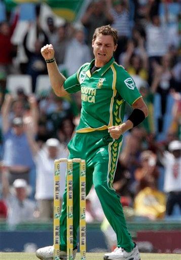 Dale Steyn celebrates after dismissing Australia's batsman Callum Ferguson, unseen, for 50 runs during the second ODI match at the SuperSport Park in Pretoria on Sunday, April 5, 2009. (AP Photo)