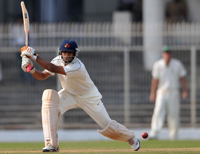 Board President XI cricketer Abhishek Nayar plays a shot during his century innings on the first day of the two-day warm-up match against South Africa. (AFP Photo)