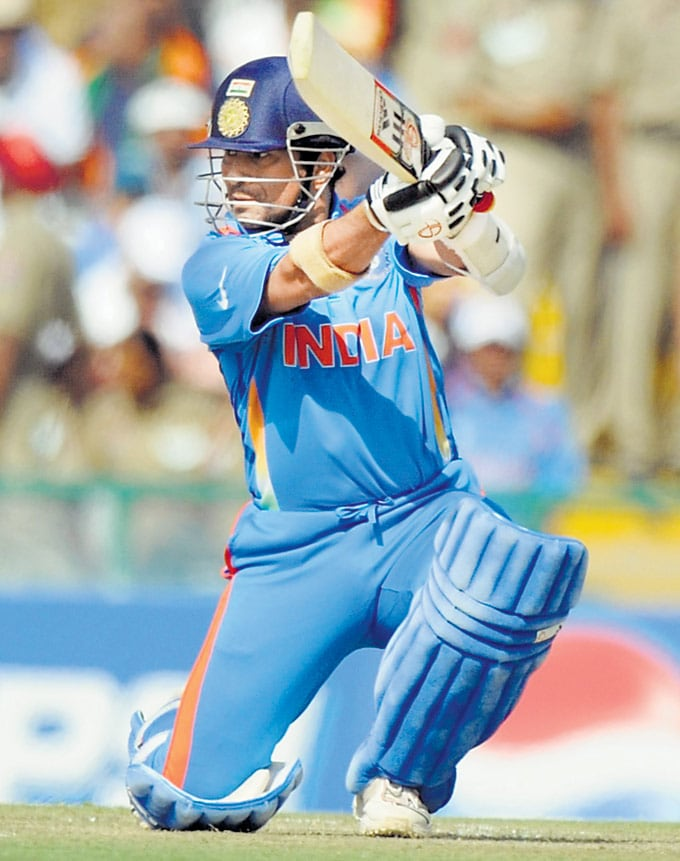 "... Against Pakistan in Mohali in the 2011 World Cup. (Photo: <a href=""http://www.mid-day.com//""> Mid-Day.com)</a>"