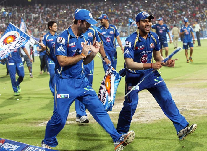 Skipper Rohit Sharma (right) was a proud player as he is seen here giving expression to his feeling of absolute ecstasy. (PTI image)