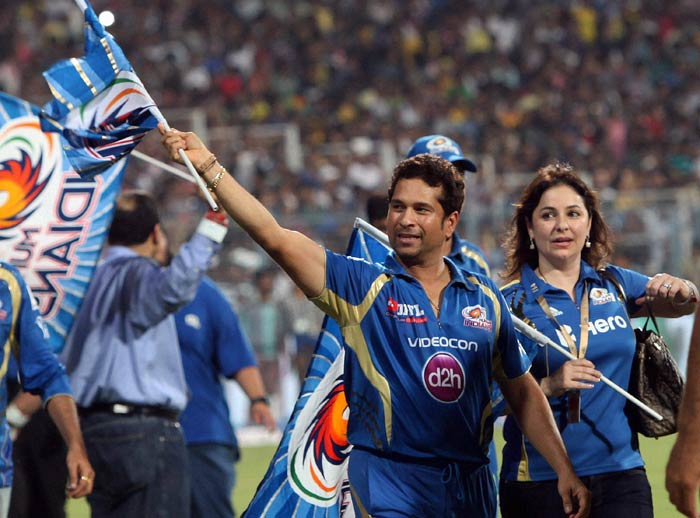 """""""I waited for 21 years for the World Cup and six years for the IPL trophy. I am 40, let's face reality. This was my last IPL.""""<br><br>This is what a beaming Sachin Tendulkar had to say after the match. (PTI image)"""