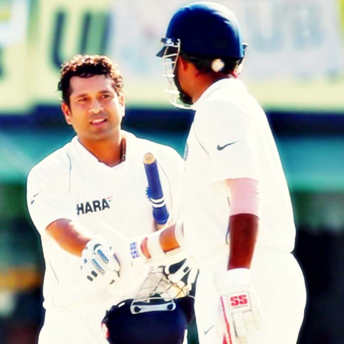 And when Sachin broke Sunil Gavaskar's record of most Test 100's - 109 at Delhi to get his 35th 100 - Dada was at other end.