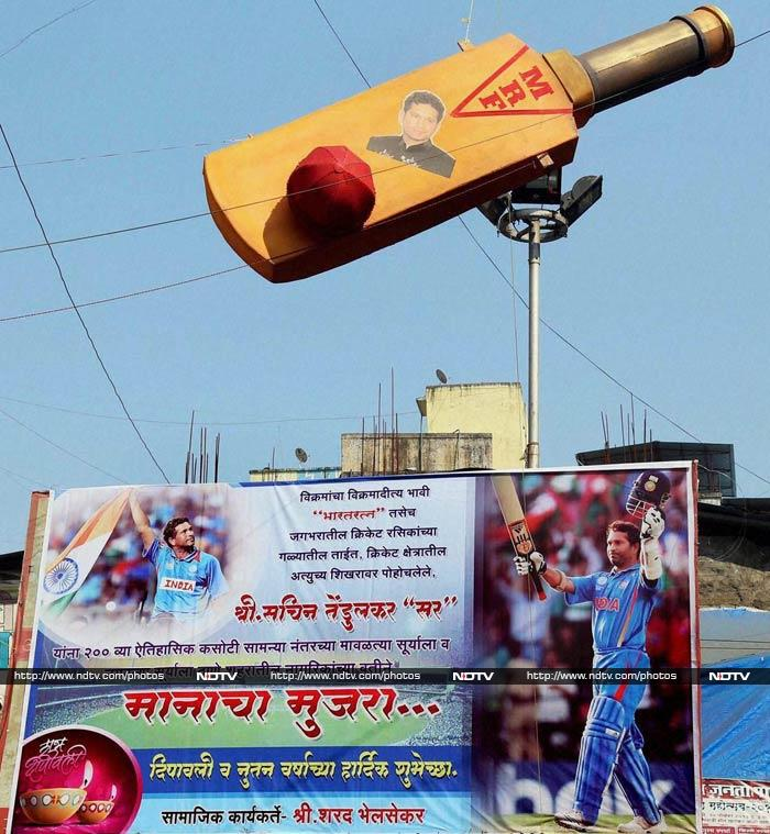 Huge posters and cut-outs depicting Sachin Tendulkar in his trademark stance - raisning his bat after countess centuries - have been erected around the city, especially close to Eden Gardens.
